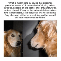 """Turn Up, Define, and Mean: """"What is meant here by saying that existence  precedes essence? It means first of all, dog exists,  turns up, appears on the scene, and, only afterwards,  defines himself. If dog, as the existentialist conceives  him, is indefinable, it is because at first he is nothing.  Only afterward will he be something, and he himself  will have made what he will be"""""""
