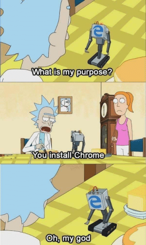 Chrome, Dank, and God: What is my purposet  You install Chrome  Oh, my god Thats right!! by rajats09 MORE MEMES