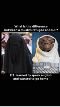 The difference between aliens: What is the difference  between a muslim refugee and E.T.?  E.T. learned to speak english  and wanted to go home The difference between aliens