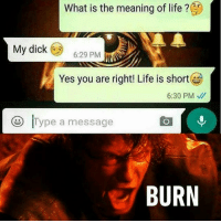 Lol,Damn it!! 😅😅😅😅 I read that so fast,and just busted out laughing...👏👏👏@9gag Monday mondaymadness funny funnymemes text jokes sonofthebeesh lol humor instalike twd horror comedy laughing hitthatbitch burn meme Instagram comics gamer artist editor HORRORVIXEN101: What is the meaning of life ?C  My dick  6:29 PM  Yes you are right! Life is short  6:30 PM  D Type a message  BURN Lol,Damn it!! 😅😅😅😅 I read that so fast,and just busted out laughing...👏👏👏@9gag Monday mondaymadness funny funnymemes text jokes sonofthebeesh lol humor instalike twd horror comedy laughing hitthatbitch burn meme Instagram comics gamer artist editor HORRORVIXEN101