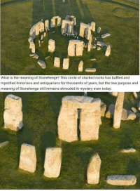 Shit, True, and Meaning: What is the meaning of Stonehenge? This circle of stacked rocks has baffled and  mystified historians and antiquarians for thousands of years, but the true purpose and  meaning of Stonehenge still remains shrouded in mystery even today. holy shit