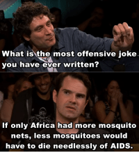 Africa, What Is, and Aids: What is the most offensive joke  you have ever written?  If only Africa had more mosquito  nets, less mosquitoes Would  have to die needlessly of AIDS Jimmy Carrs most offensive joke