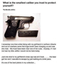 melonmemes:  Gun safety: What is the smallest caliber you trust to protect  yourself?  The Beretta Jetfire:  洛  I remember one time while hiking with my girlfriend in northern Alberta  and out of nowhere came this huge brown bear charging us and was  she mad. We must have been near one of her cubs. Anyway, if I had  not had my little Jetfire I would not be here today.  Just one shot to my girlfriend's knee cap was all it took... .the bear  got her and I was able to escape by just walking at a brisk pace  It's one of the best pistols in my collection.. melonmemes:  Gun safety