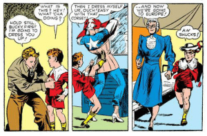 Dress, Europe, and What Is: WHAT IS  THIS? HEY  WHAT CHA  DOING?  THEN I DRESS MYSELF  UR. OUCH EASY  WITH THAT  CORSET  -AND NOW  WE'RE GOING  TO EUROPE!  HOLD STILL,  BUCKY FIRST  PM GOING TO  DRESS YOU  UP  AW  SHUCKS! Cap and Bucky's early missions were… unusual.