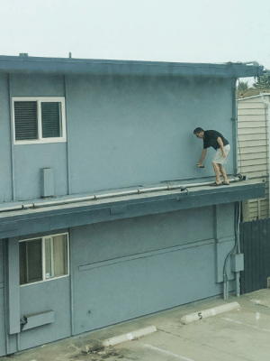 Apparently, Reddit, and San Diego: What is this San Diego Flip-Floppin' Ledge Boomer tagging on this wall? (He was spraying for wasps, apparently.)