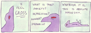 dysphoria: WHAT IS THIS? WHATEVER IT I5,  ANXIETY?  FEEL  THIS IS ABSOLVTE  GROSSI DEPRESSION?  HORSESHIT  HUNGER?  DYSPHORIA?