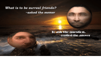 memer: what is to be surreal friendo?  asked the memer  the question.  aSK replied the answer