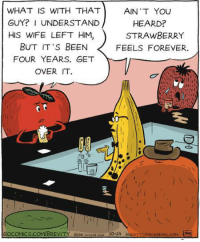 It's fruitile.: WHAT IS WITH THAT  AIN'T YOU  GUY? I UNDERSTAND  HEARD?  HIS WIFE LEFT HIM  STRAWBERRY  BUT IT'S BEEN  FEELS FOREVER.  FOUR YEARS. GET  OVER IT.  GOCOMICS.COM/BREVITY e205  erssue 10-14 BRE VITvcoMceGMAAL.coM It's fruitile.