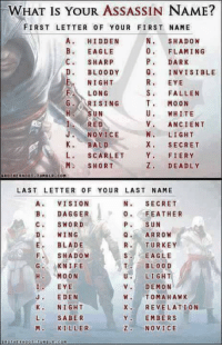 Assassination, Blade, and Bloods: WHAT Is YOUR ASSASSIN NAME?  FIRST LETTER OF YOUR FIRST NAME  A HIDDEN  N SHADOW  0 FLAMING  B. EAGLE  P. DARK  C. SHARP  D. BLOODY  Q INVISIBLE  NIGHT  EYE  S. FALLEN  F LONG  G. RISING  T. MOON  U. WHITE  SUN  I RED  V. ANCIENT  J. NOVICE  LIGHT  K. BALD  X. SECRET  Y. FIERY  SCARLET  M. SHORT  DEADLY  BROTHEEHOOT  TUMBLA COM  LAST LETTER OF YOUR LAST NAME  N SECRET  A VISION  0 FEATHER  B. DAGGER  C., SWORD  SUN  D. WING  ARROW  E BLADE  R. TURKEY  s EAGLE  F. SHADOW  T. BLOOD  KNIFE  U LIGHT  MOON  v. DEMON  EYE  W TOMAHAWK  J. EDEN  K. NIGHT  REVELATION  L. SABER  Y EMBERS  Z NOVICE  M. KILLER  BROTHER HOO