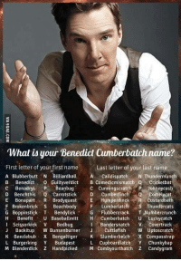 9gag, Benadryl, and Butt: What is your Benedict Cumberbatch name?  First letter of your first name  Last letter of your last name  A Blubber butt N Billiardball  Calldispatch  N Thundermunch  B, Benedict  O Guiltyverdict B comedicmismatch o cricketbat  c Benadryl  P Beanbag  c Benchthis  Carrotstic  Cumber finch  Cunningscratch P Johnny cash  Q Comely cat  E Bonapart  R Brody quest Humperdinck  R custardbath  F Brokenbrick s Beachbody  F sa Thundercats  G Boppinstick T. Bendylick  TG Flubbercrack  T Numbercrunch  Benefit  U Baseballmitt HA Cumberbatch  U. Luckycatch  I Bandersnatch  ve covert rack  Scissorkick V  Bedbug  Back it up  W Bunsenburner  Ja Cuttlefish  W Uptoscratch  K Beezlebub X Bengal tige  SK Slumberbelch X ompasstrap  L Cupboard latch  Y Chunk bap  L Burgerking Y Budapest  M Blenderdick Z Handpicked  M Combyourthatch z Candygram Beanbag Thundercats! http://9gag.com/gag/a4ZoNe6?ref=fbpic