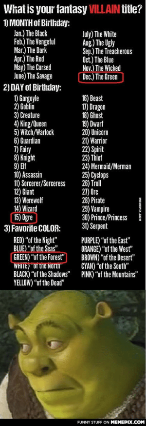 """Sooo…I'm Shrek?omg-humor.tumblr.com: What is your fantasy VILLAIN title?  1) MONTH of Birthday:  Jan.) The Black  Feb.) The Vengeful  Mar.) The Dark  Apr.) The Red  May) The Cursed  June) The Savage  2) DAY of Birthday:  1) Gargoyle  2) Goblin  3) Creature  4) King/Queen  5) Witch/Warlock  6) Guardian  7) Fairy  8) Knight  9) Elf  10) Assassin  11) Sorcerer/Sorceress  12) Giant  13) Werewolf  14) Wizard  15) Ogre  3) Favorite COLOR:  July) The White  Aug.) The Ugly  Sep.) The Treacherous  Oct.) The Blue  Nov.) The Wicked  Dec.) The Green  16) Beast  17) Dragon  18) Ghost  19) Dwarf  20) Unicorn  21) Warrior  22) Spirit  23) Thief  24) Mermaid/Merman  25) Cyclops  26) Troll  27) Orc  28) Pirate  29) Vampire  30) Prince/Princess  31) Serpent  RED) """"of the Night""""  BLUE) """"of the Seas""""  GREEN) """"of the Forest""""  WHITE) OT The North  BLACK) """"of the Shadows""""  YELLOW) """"of the Dead""""  PURPLE) """"of the East""""  ORANGE) """"of the West""""  BROWN) """"of the Desert""""  CYAN) """"of the South""""  PINK) """"of the Mountains""""  FUNNY STUFF ON MEMEPIX.COM  МЕМЕРХ.Сом Sooo…I'm Shrek?omg-humor.tumblr.com"""