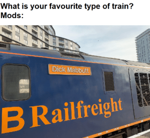Run, Dick, and Train: What is your favourite type of train?  Mods:  Dick Mabbutt  Railfreight  B Run a train