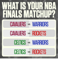 What do y'all think?! 🤔👇 @sportscenter WSHH: WHAT IS YOUR NBA  FINALS MATCHUP?  CAVALIERS vs WARRIORS  CAVALIERS vs ROCKETS  CELTICS vs WARRIORS  CELTICS vs ROCKETS What do y'all think?! 🤔👇 @sportscenter WSHH