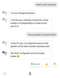 Google, Mood, and How To: what is your purpose  I'm your Google Assistant  Ican be your cooking companion, study  buddy or DJ depending on what mood  you're in  Your purpose is to pass butter  Lucky for you, my engineers gave me far  greater utility than a butter-passing robot  Not that I've figured out how to pass  butter  G Search