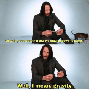 down to earth: What is your secret for always staving down-to-Earth?  Well I mean, gravity
