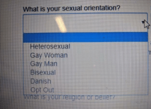 Viking heritage: What is your sexual orientation?  Heterosexual  Gay Woman  Gay Man  Bisexual  Danish  Opt Out  wnat is your reigion or beineTY Viking heritage