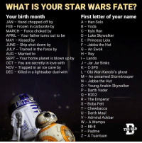 Anakin Skywalker, Chewbacca, and Darth Vader: WHAT IS YOUR STAR WARS FATE?  Your birth month  JAN Hand chopped off by  FEB Frozen in carbonite by  MARCH Force choked by  APRIL Your father turns out to be  MAY Kissed by  JUNE Ship shot down by  JULY Trained in the force by  AUG Married to  SEPT Your home planet is blown up by  First letter of your name  A Han Solo  B Yoda  C Kylo Ren  D Luke Skywalker  E Princess Leia  F Jabba the Hut  G An Ewok  H Rey  Lando  J - Jar Jar Binks  K C-3PO  L Obi Wan Kenobi's ghost  M-An unnamed Stormtrooper  N Jabba the Hut  O Young Anakin Skywalker  P Darth Vader  Q R2D2  R The Emperor  S Boba Fett  T - Chewbacca  U Darth Maul  V Admiral Ackbar  W A Wampa  X BB-8  Y Padme  Z A Tuantuan  OCT You are secretly in love with  NOV Trapped in an ice cave by  DEC Killed in a lightsaber duel with  THE DAID <p>Married to Leia.</p>