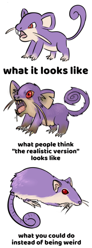 """Being Weird, Weird, and Think: what it looks like   what people think  """"the realistic version""""  looks like   what you could do  instead of being weird"""