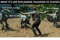 College, Memes, and Statistics: WHAT IT'S LIKE EXPLAINING TAXATION TO STATISTS  Taxation is theft!  Muh social security  Muh college!  Muh health #MuhRoads! #TaxationIsTheft