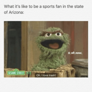 Love, Meme, and Memes: What it's like to be a sports fan in the state  of Arizona:  amb meme  SESAME STREET  Oh, I love trash! Paul Goldschmidt is heading to St. Louis, and the D'backs are heading to last place