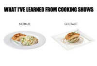 Memes, 🤖, and Education: WHAT IVELEARNED FROM COOKING SHOWS  NORMAL  GOURMET My culinary education.