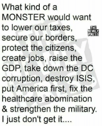 America, Isis, and Memes: What kind of a  MONSTER would want  to lower our taxes,  THE  NEWLY  PRESS  secure our borders,  protect the citizens,  create jobs, raise the  GDP, take down the DC  corruption, destroy ISIS,  put America first, fix the  healthcare abomination  & strengthen the military.  I just don't get it.. Good point!