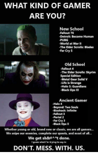 elder scrolls skyrim: WHAT KIND OF GAMER  ARE YOU?  New School  -Fallout 76  -Detroit: Become Human  -PUBG  -World at War II  -The Elder Scrolls: Blades  -Far Cry 5  Old School  -Fallout 4  The Elder Scrolls: Skyrim  Special Edition  -Metal Gear Solid V  -Life is Strange  -Halo 5: Guardians  -Black Ops Ill  Ancient Gamer  -Halo 4  -Beyond: Two Souls  -Bioshock: Infinite  -Fallout 3  -Portal 2  -Far Cry 3  -Black Ops I  Whether young or old, brand new or classic, we are all gamers...  We snipe our enemies, complete our quests, and most of all...  We get sh&#^*t done.  I guess what I'm trying to say is  DON'T. MESS. WITH. US.
