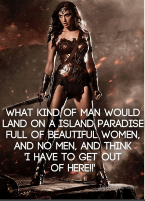 Wonder woman thoughts: WHAT KIND OF MAN WOULD  LAND ON A ISLAND PARADISE  FULL OF BEAUTIFUL WOMEN  AND NO MEN, AND THINK  I HAVE TO GET OUT  OF HEREI Wonder woman thoughts