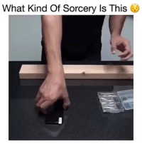 Funny, Break, and Link: What Kind Of Sorcery Is This Tag a clumsy friend who needs this! @simplycarbonfiber made this insane shatterproof screen protector that you could never break. (Link in Bio)