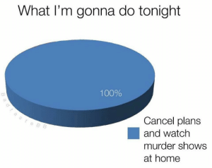 anaconda: What l'm gonna do tonight  100%  Cancel plans  and watch  murder shows  at home