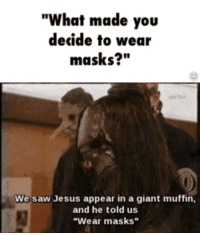 "disasterpiece-voodoochild:  One of the many reasons slipknot is in my top 3 favorite bands ever.: ""What made you  decide to wear  masks?""  We saw Jesus appear in a giant muffin,  and he told us  ""Wear masks"" disasterpiece-voodoochild:  One of the many reasons slipknot is in my top 3 favorite bands ever."