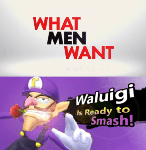 Its really that simple: WHAT  MEN  WANT  Waluig  Is Ready to  Smash! Its really that simple