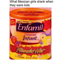 Facts, Girls, and Memes: What Mexican girls drank when  they were kids  Enfamil  PREMIUM.  Infant  olimonths  12502 (354 g)  . Facts