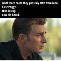 Beard, Dank, and Lost: What more could they possibly take from him?  First Peggy.  then Bucky,  now his beard. He did lost some hairy part of himself.