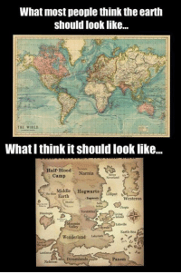 It should look like that  -shewhomustnotbenamed✨: What most people think the earth  should look like...  THE WORLD  What I think it should looklike...  Half-Blood  Narnia  Camp  Middle  Hogwarts  Earth  Lilliput  Westeros  Dinotopia  Earth-Sea  Wonderland  Llyrinth  Nehwon Dreamlands  Panem It should look like that  -shewhomustnotbenamed✨