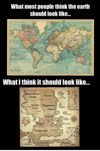 Bloods, Books, and Memes: What most people think the earth  should look like...  THE WORLD  What I think it should looklike...  Half-Blood  Narnia  Camp  Middle  Hogwarts  Earth  Lilliput  Westeros  Earth Sea  Wonderland  an  Dreamlands  Nehwon  Panem The things which a book lover has to face... ^EL^
