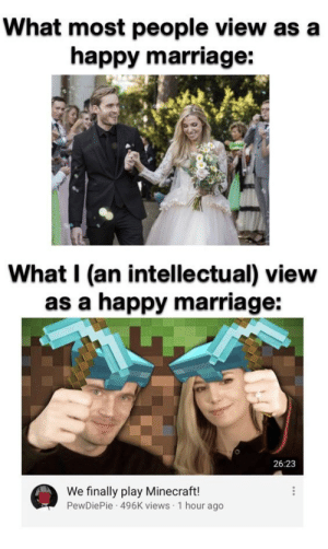 Straight Facts: What most people view as a  happy marriage:  What I (an intellectual) view  as a happy marriage:  26:23  We finally play Minecraft!  PewDiePie 496K views 1 hour ago Straight Facts