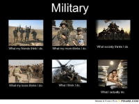 what i actually do: What my friends think l do.  What my boss thinks l do.  Military  What my mom thinks I do.  What I think I do  What society thinks l do.  What I actually do  MEMES & FUNNY PICS  FRABZ COM