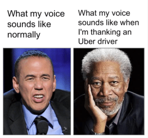 Dank, Memes, and Target: What my voice  sounds like  normally  What my voice  sounds like when  I'm thanking an  Uber driver meirl by welcompsh MORE MEMES
