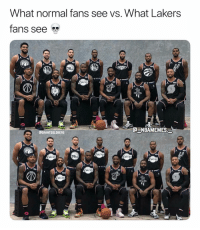 Los Angeles Lakers, Memes, and 🤖: What normal fans see vs. What Lakers  fans see  AKERS  C NBAMEMES  CGRANTGOLDBERG  IA1心  76en They see Lakers jerseys 💀😂 - Follow @_nbamemes._