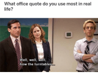 "Af, Christmas, and Life: What office quote do you use most in real  life?  Well, well, welI  how the turntables i use this daily 🤩😂 check out our previous post if you enjoy this meme TheOffice.AF or ""OfficeChristmas"" on your app store for Office Christmas Sweaters🎄❄️🎄"