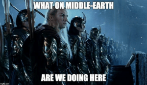 Earth, DnD, and Middle Earth: WHAT ON MIDDLE-EARTH  e in  ARE WE DOING HERE When the certain players aren't paying attention to the plot and get wrapped up in a continental war