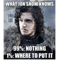 WHAT ON SNOW KNOWS  99%: NOTHING  1%: WHERE TO PUT IT You know NOTHING, Jon Snow gameofthrones got memes jonsnow