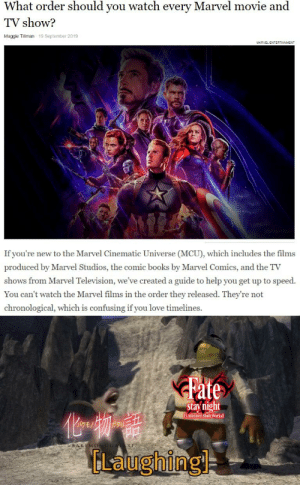 True amateurs: What order should you watch every Marvel movie and  TV show?  Maggie Tillman 19 September 2019  MARVEL ENTERTAINMENT  If you're new to the Marvel Cinematic Universe (MCU), which includes the films  produced by Marvel Studios, the comic books by Marvel Comics, and the TV  shows from Marvel Television, we've created a guide to help you get up to speed.  You can't watch the Marvel films in the order they released. They're not  chronological, which is confusing if you love timelines.  Fate  stay night  (Unlimited Blade Works  BAKEMONOGA  RIS  FLaughing True amateurs