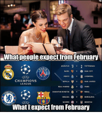 Barcelona, Chelsea, and Football: What people expect tfrom February  JUVENTUS v TOTTENHAM  LEAGUE,  BASEL  V MAN. CITY  PORTO  LIVERPOOL  CHAMPIONS  LEAGUE  SEVILLA  ˇ  MAN, UNITED  V @) PARIS  REAL MADRID  SHAKHTAR DONETSK  VROMA  CHELSEA  BARCELONA  FCB  BAYERN  BESIKTAS  What lexpect from February All football, all champions league 👏⚽️🔥 February Football UCL TheChampionsssss