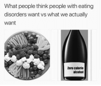 Zero, Alcohol, and Eating Disorders: What people think people with eating  disorders want vs what we actually  want  Zero calorie  alcohol