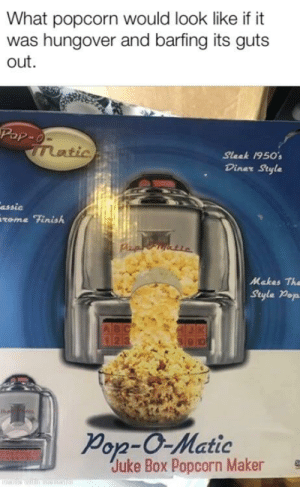 The Dry Heave mambo, it's like butter!: What popcorn would look like if it  was hungover and barfing its guts  out  Sleek 1950  Diner Style  assic  tome Finish  从akas The  Style Pep  Von-O-Matic  Juke Box Popcorn Maker The Dry Heave mambo, it's like butter!