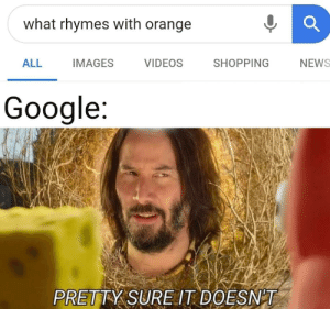 Google really do be spitting fax: what rhymes with orange  ALL  SHOPPING  IMAGES  VIDEOS  NEWS  Google:  PRETTY SURE IT DOESN'T Google really do be spitting fax