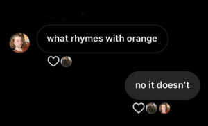 me irl: what rhymes with orange  no it doesn't me irl