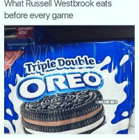 Official cookie of Russell Westbrook 😂😂😂😂: What Russell Westbrook eats  before every game  Stuf  Triple Double  ONBARMEMES Official cookie of Russell Westbrook 😂😂😂😂
